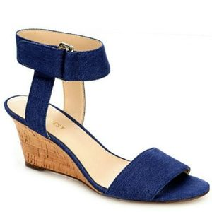 Nine West 7 Riley Denim Ankle Strap Wedge Sandals